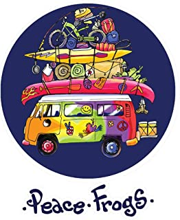 Enjoy It Peace Frogs Packed Bus Peace Frogs Car Sticker, Outdoor Rated Vinyl Sticker Decal for Windows, Bumpers, Laptops or Crafts