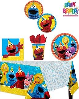 Elmo Sesame Street Birthday Party Supplies Pack Bundle Kit Including Dinner Plates Dessert