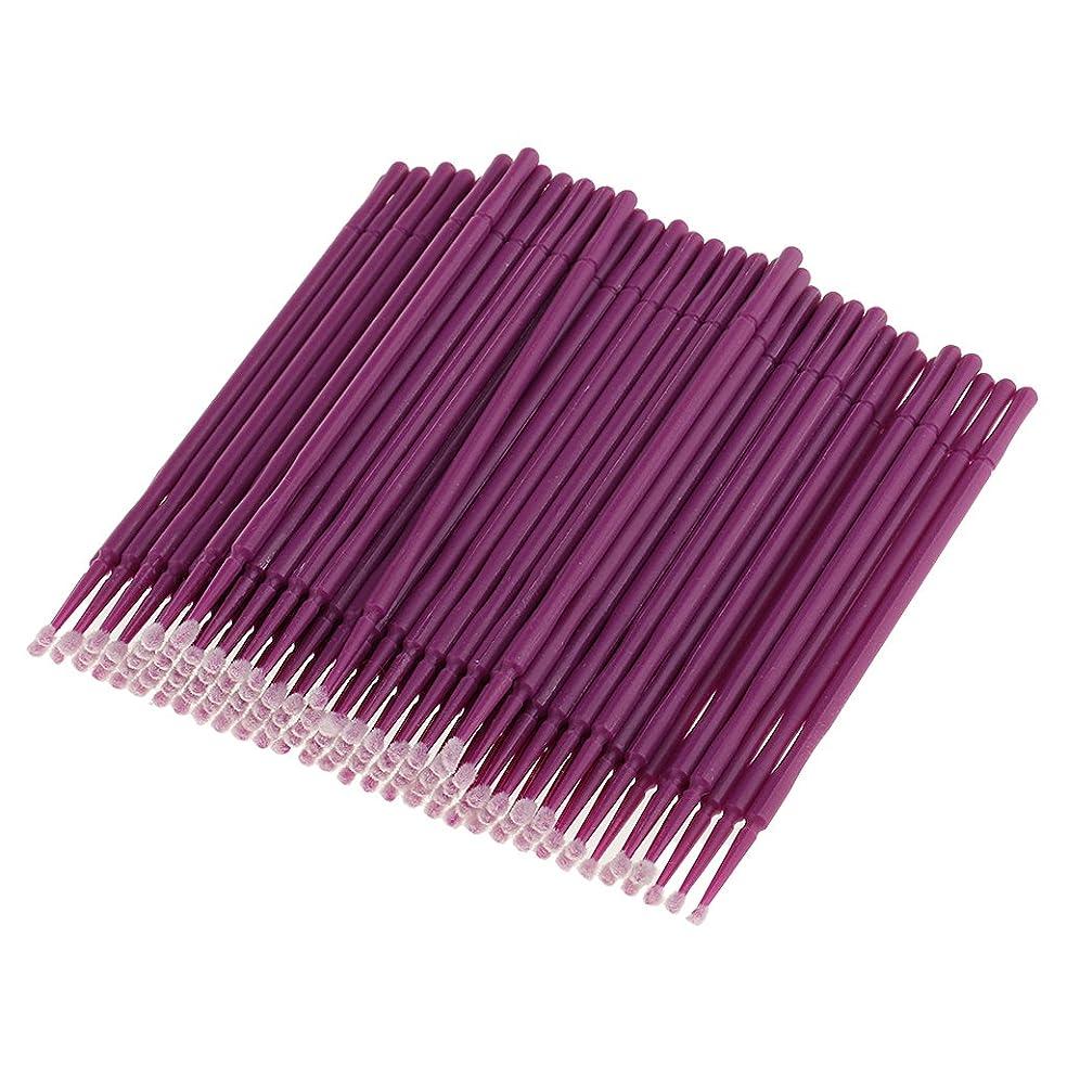 精神医学製作保守可能Perfk 約100本 使い捨て まつげエステ 美容用具 マイクロブラシ アプリケーター ミニヒントタイプ マスカラ パープル