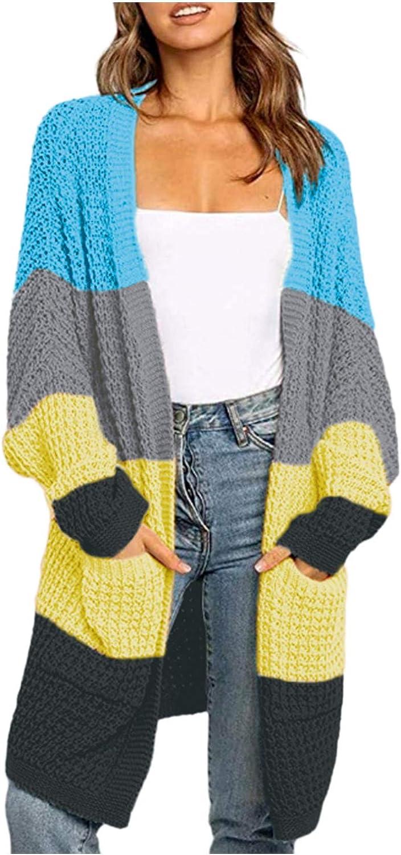 RiamxwR Pocciol Cardigan Sweater for Women Solid Color Matching Cardigan Sweater Sweater Coat wth Pockets Loose Outerwear