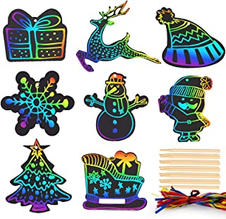 Mocoosy 48 Christmas Scratch Paper Art Ornaments, Rainbow Scratch Off Paper Cards Christmas Crafts Kits for Kids DIY Decorations with Snowflake, Snowman, Christmas Tree, Santa and More
