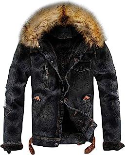 Sponsored Ad - chouyatou Men`s Winter Stylish Faux Fur Collar Sherpa Lined Distressed Denim Trucker Jacket