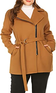 Womens Plus Size Coat Jacket Winter Trench Coat Notched Lapel Double Breasted Zipper Down Jackets Belt Outercoat