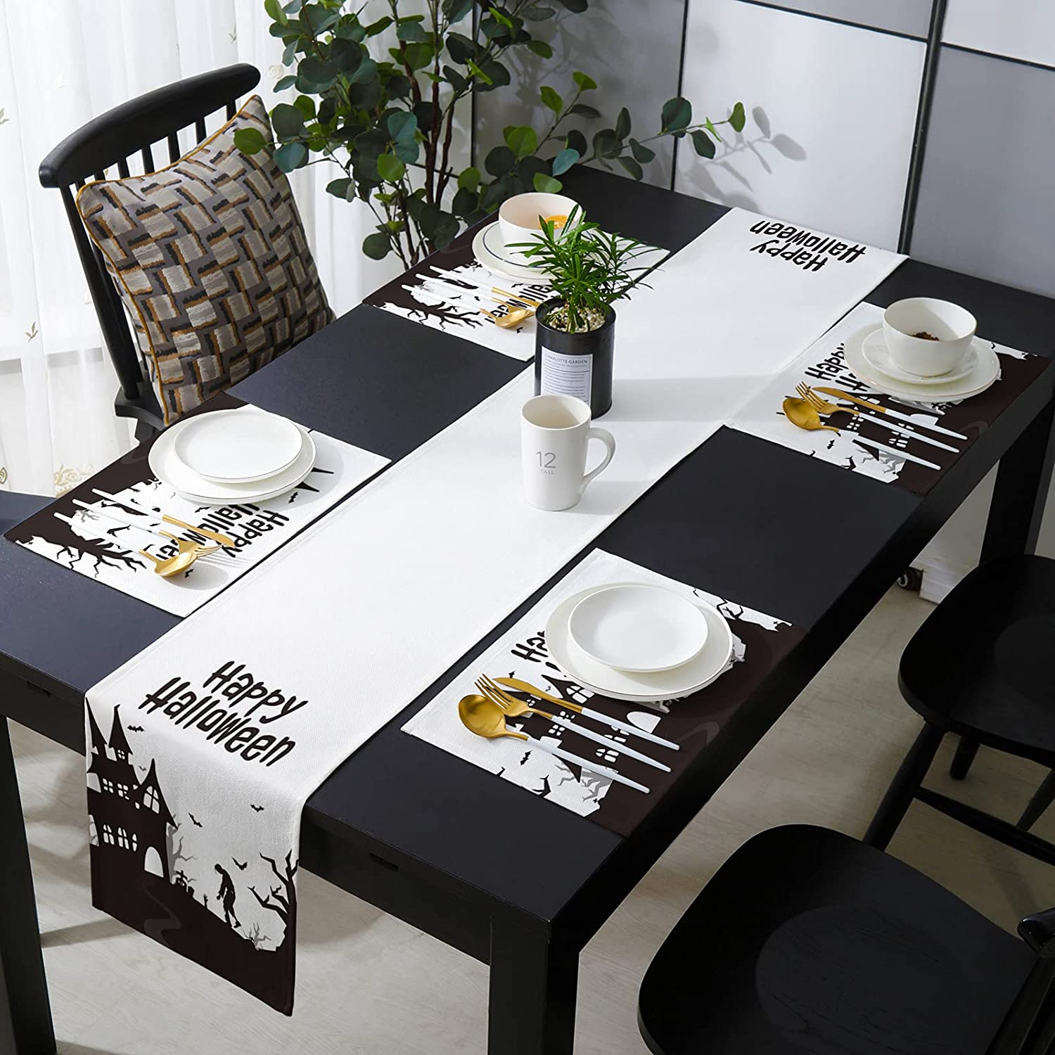 SIGOUYI 4 Placemats Selling rankings with Matching Inches 16x72 Los Angeles Mall Long Table Runner