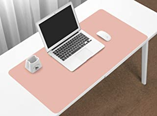 BOONA Desk Mat/Mouse Pad Protector-23.6''x11.8'' Multifunctional Ultra Thin Waterproof PU Leather Writing Pad for Office Laptop, Gaming Computer and Travel(60cmx30cm Double Side with Pink+Silvery)
