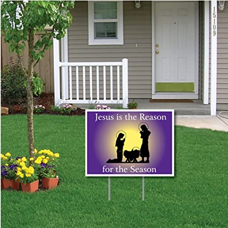 "VictoryStore Yard Sign Outdoor Lawn Decorations: ""Jesus is the Reason for the Season"" Nativity Scene Outdoor Lawn Sign, 18 Inches by 24 Inches, 2 Stakes Included"