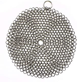 316 Premium Stainless Steel Cast Iron Cleaner, Chainmail Scrubber for Cast Iron Pan Pre-Seasoned Pan Dutch Ovens Waffle Ir...