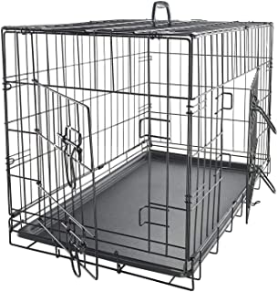 "Mumoo Bear 30"" Dog Crate Dog Cage Dog Kennel Metal Wire Double-Door Folding Pet Animal Pet Cage with Plastic Tray and Handle"