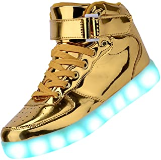 Odema Unisex Shuffle High Top Sneakers Light Up LED Shoes for Women Men Girls Boys