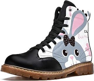LORVIES Lapin Mignon Bottes d'hiver Chaussures Montantes en Toile à Lacets pour Hommes