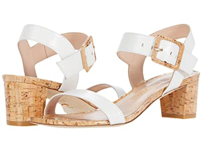 Stuart Weitzman Alexandrine 50 (White Smooth Calf/Cork) Women