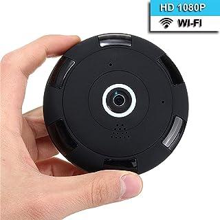 Cámara de Seguridad 1080P WiFi IP 180 ° - 360 ° Minicámara Portátil Oculta para Interiores con Visión Nocturna por Infrarrojos/Audio Bidireccional/Grabación en Bucle con Detección de Movimiento