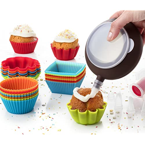 Kid Baking Set 24 Baking Muffin Molds Silicone Cupcake Liners + Corer Plunger + Cake Decorating