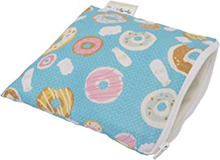 """Itzy Ritzy Reusable Snack Bag – 7"""" x 7"""" BPA-Free Snack Bag is Food Safe, Washable and Ideal for Storing Snacks, Pacifiers, Electronics and Makeup in a Diaper Bag, Purse or Travel Bag, Donut Shop"""