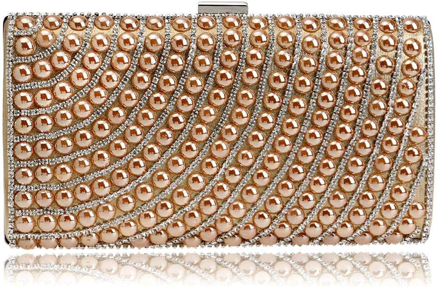 Cross Women Evening Bags Faux Pearl Cascading Bead Rhinestone Evening Clutch Fashion Purse for Work (Size   color)