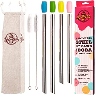BOBA FIDE Stainless Steel Boba & Smoothie Straws + Safety Silicone Tips & Brushes in 2 Travel Cases, Angled Tip Extra Wide Bubble Tea Milkshake Straws, 4 Reusable Metal Straws in 2 Sizes For Family