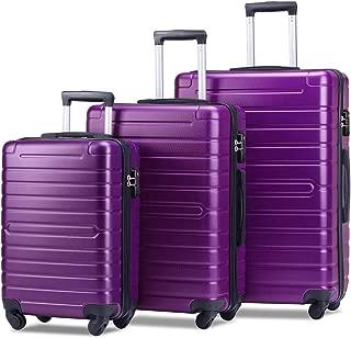 Flieks Luggage Set 3 Piece with TSA Lock Light Weight Hardside Spinner Suitcase (Purple)