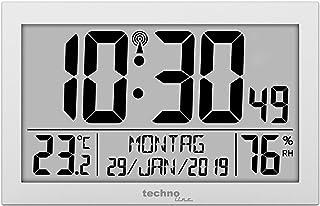 Technoline WS 8016 Radio Wall Clock with Temperature Display, Silver, klein: 22,5 x 14,3 x 2,4cm