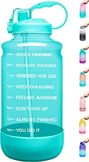 Elvira Large 1 Gallon/128 oz Motivational Time Marker Water Bottle with Straw &..