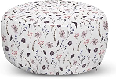 Ambesonne Watercolor Ottoman Pouf, Vintage Floral Arrangement Retro Inspired Summer Spring Season Foliage Pattern, Decorative Soft Foot Rest with Removable Cover Living Room and Bedroom, Multicolor