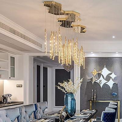 Araña de luces Sala lámpara del dormitorio Restaurante Bar LED9 Cabeza de oro de lujo de la escalera 35x35x60cm lámpara de techo Luz colgante: Amazon.es: Iluminación