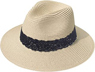 Lanzom Women Wide Brim Straw Panama Roll up Hat Fedora...