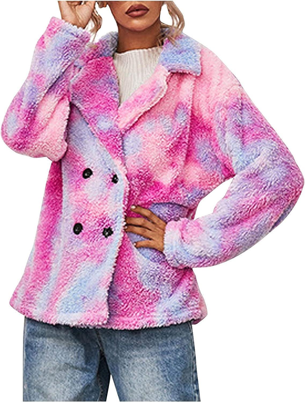 Ellymi Women Full Zip Tie-dye Hoodie Fleece Jacket Long Sleeve Faux Fuzzy Long Sweatshirts Hooded Faux Fur Fuzzy Coat
