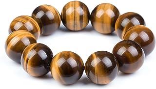 Fashion Month Mens Womens 6-20mm Beads Brown Tiger Eye Beaded Lucky Gemstone Stretch Bracelet Unisex Wrist