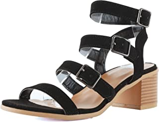 Guilty Heart Women Comfortable Cut Out Low Block Heel Strappy Gladiator Walking Heeled Sandals