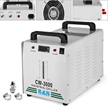 Mophorn Water Chiller 9L Capacity Industrial Water Chiller CW-3000DG Thermolysis Type Industrial Water Cooling Chiller for 60W 80W Laser Engraving Machine (CW-3000DG 9L)