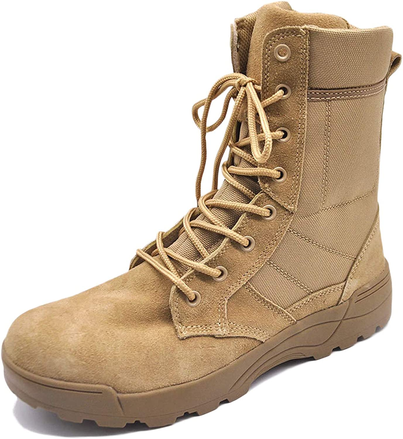 HNGLXQ Combat Boots G-82 Leather Side Zip Army Tactical Boots Delta Military Work Army shoes Safety Ankle Boots Breathable Commando Outdoor Desert Tactical Military Patrol Boots,Beige-EU43