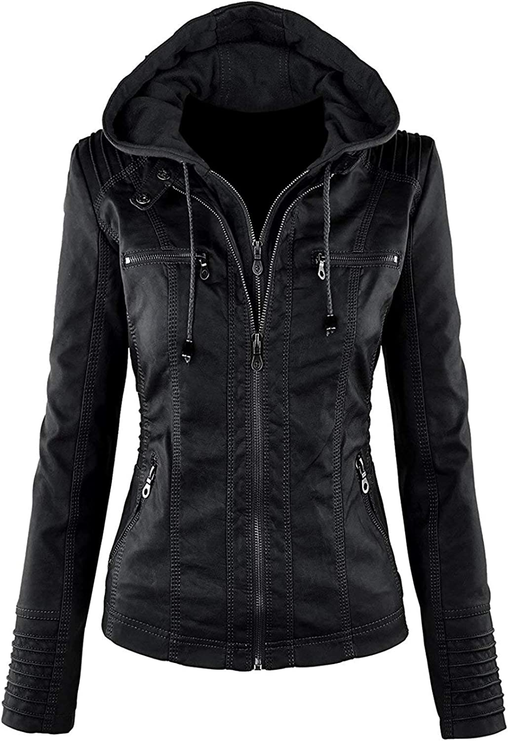 TheSmartSales Latest item Black Hooded High quality new Faux Custom for Jacket W Made Leather