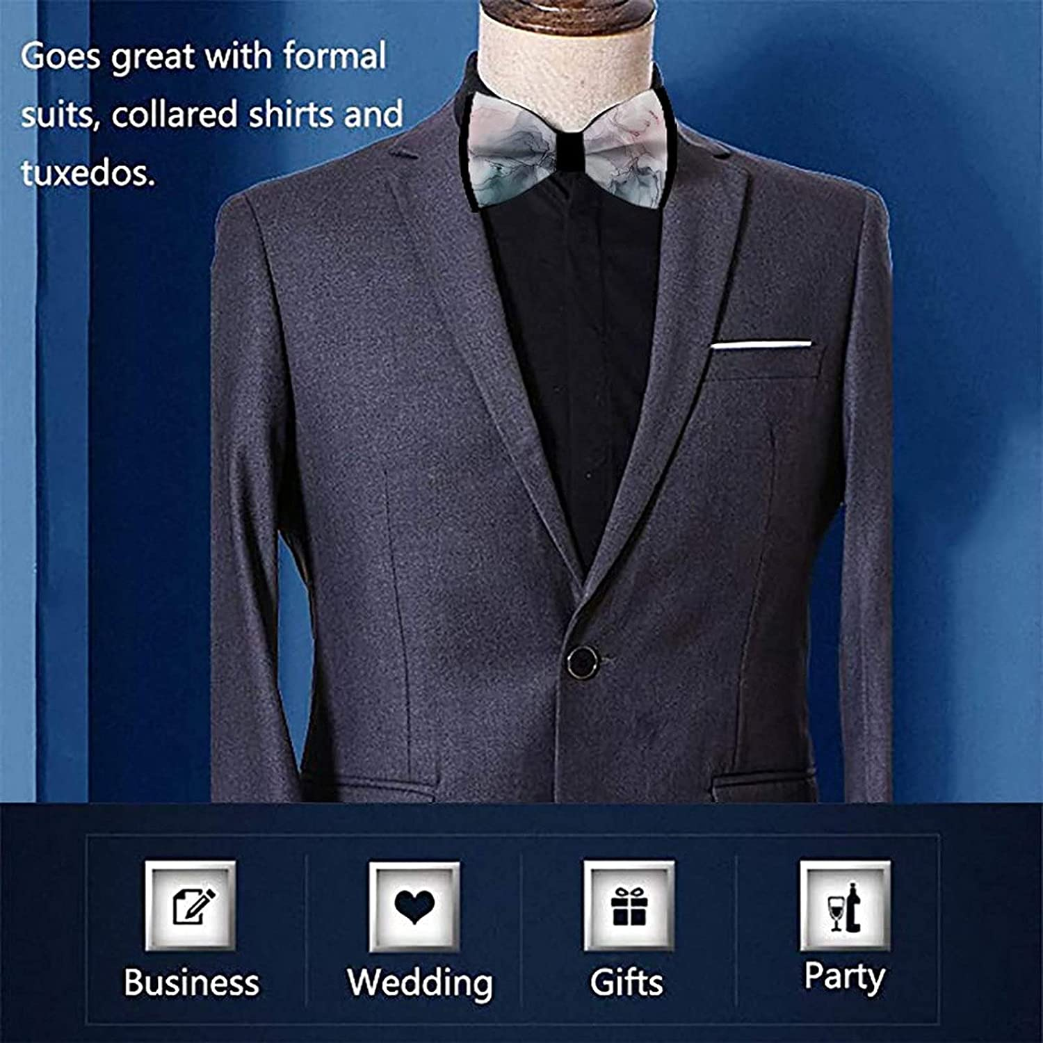 Pre-Tied Bowties for Formal Party Classic Cravat Neck Tie For Adults & Children