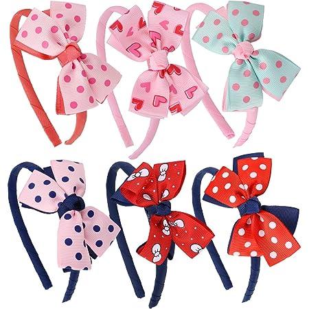 Homgaty - Cerchietti per bambine realizzati a mano con fiocco a pois, confezione da 6 pezzi