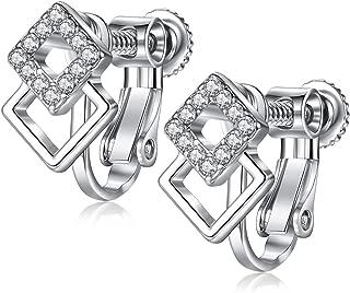 EVBEA Clip on Earrings Studs Hypoallergenic Cubic Zirconia Screw on Earrings for Women Red Purple Butterfly Heart Star Girl Jewelry with Gift Box