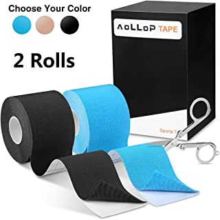 """Aollop Kinesiology Tape, Elastic Therapeutic Sports Tape for Plantar Fasciitis Knee Shoulder Elbow,Water Resistant, Breathable,Latex Free,2"""" x 16.5 feet (Including Folding Scissor)"""