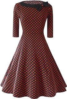 LONUPAZZ Femme Vintage Audrey Hepburn Pin-Up Robe De Soir/éE Cocktail Rockabilly R/éTro sans Manches Ann/éEs 50 /à Pois