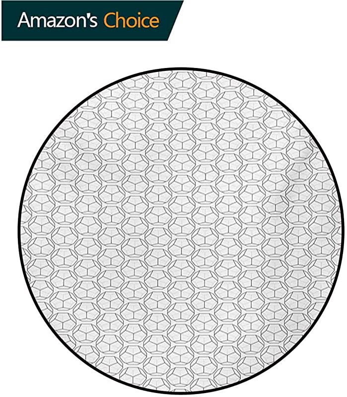 RUGSMAT Geometric Non Slip Area Rug Pad Round Sport Football Ball Like Hexagonal Geoemtrical Shapes With Black Backdrop Protect Floors While Securing Rug Making Vacuuming Diameter 35 Inch