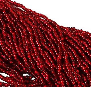 Czech 11/0 Traditional Glass Seed Beads 6 String Hank 100 Colors U-Pick Silver Lined Ruby)