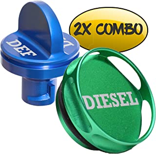 Ronin Factory Combo Pack Magnetic Diesel Fuel Cap + DEF Cap Accessory for Dodge RAM Truck 1500 2500 3500 (2013+) with 6.7 Cummins EcoDiesel (Easy Grip)