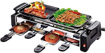 Grils à raclette qualité 1200w barbecue familial non collant gril à raclette électrique pour 2 à 4 personnes gril sans fum...