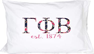 Desert Cactus Gamma Phi Beta Sorority Floral Letters with Founding Year Pillowcase 300 Thread Count 100% Cotton Gamma phi
