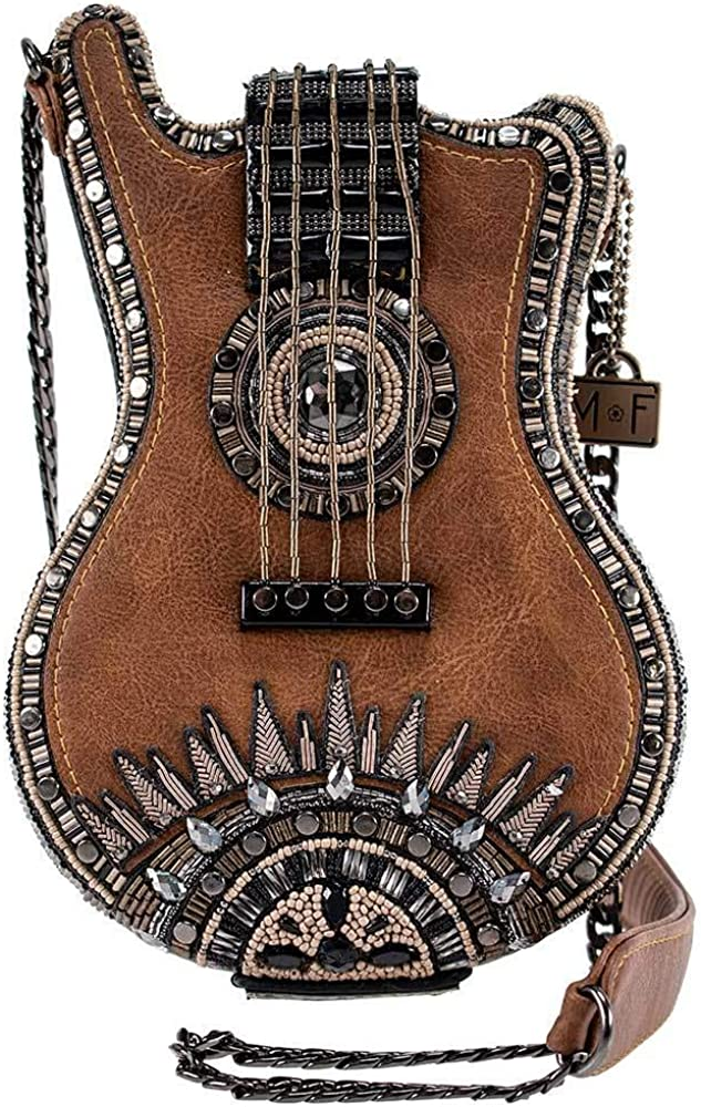 Mary Frances Open Mic Beaded Crossbody Handbag Beauty products Long-awaited Guitar Brown