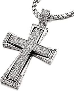 Mens Womens Large Steel Cross Pendant Necklace with Cubic Zirconia and 30 inches Wheat Chain