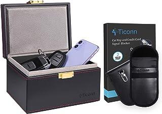 TICONN Faraday Bag for Key Fob (2 Pack, PU Leather) & Faraday Box (PU Leather), Car RFID Signal Blocking, Anti-Theft Pouc... photo