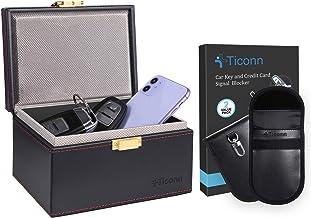 $29 » TICONN Faraday Bag for Key Fob (2 Pack, PU Leather) & Faraday Box (PU Leather), Car RFID Signal Blocking, Anti-Theft Pouch...