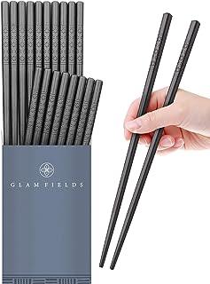 10 Pairs Fiberglass Alloy Chopsticks, GLAMFIELDS Reusable Japanese Chinese Chop sticks Dishwasher Safe, Non-slip, 9 1/2 inches