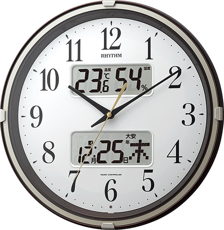 まで突き出す管理掛け時計 電波時計 温度計?湿度計付き フィットウェーブリブ ブラウン リズム時計 4FYA07SR06