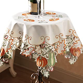 Die-Cut Autumn Harvest Decorative Table Linens with Scalloped Edges - Accents of Pumpkins, Autumn Leaves, Acorns and Gourds