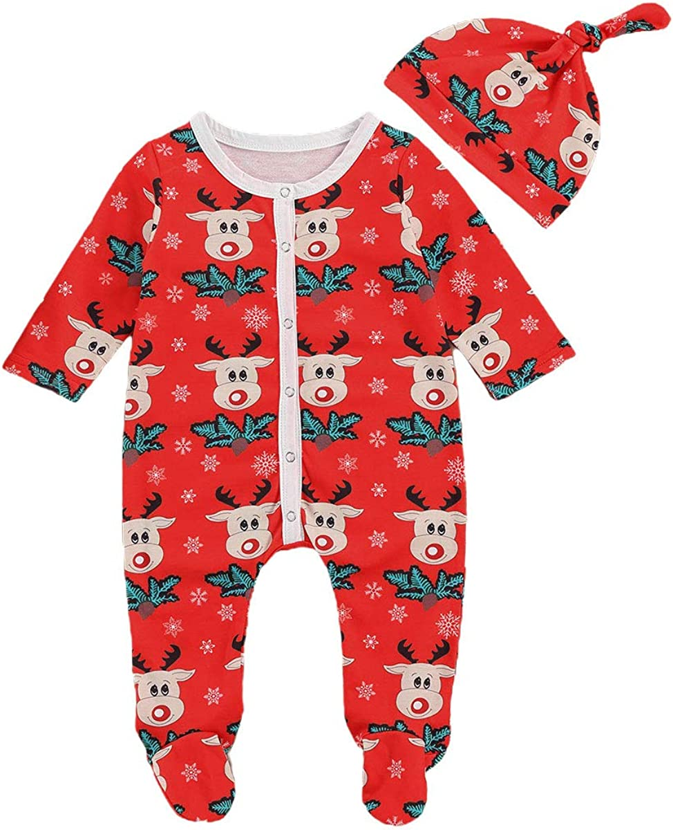 Family Matching Christmas Outfits Set for Sisters Girls Boy Romper Suspender Skirts Cap Clothes Set